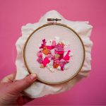 pink embroidery hand