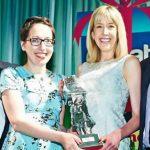 sam and emma winning The Greats Gift retailer Award