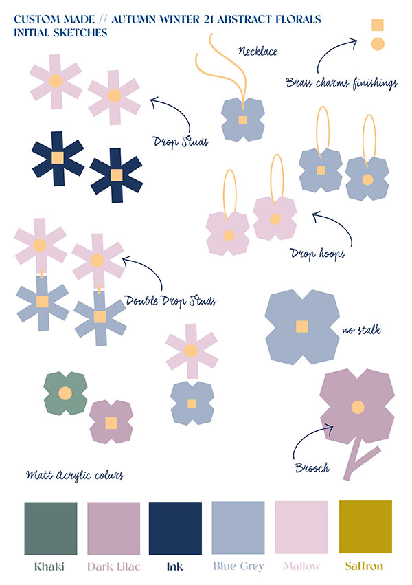 Custom Made Oxford LASER CUT FLORALS SKETCHES